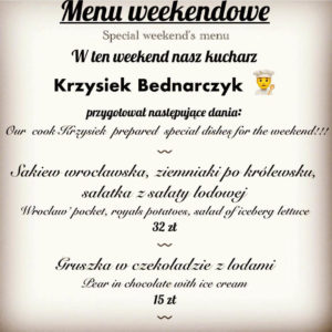 Menu dla restauracji na weekend